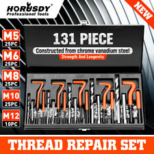 131Pc Thread Repair Kit HSS Drill Helicoil Metric Set Heli Coil Tap Insert Case