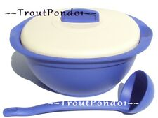 Tupperware Legacy Covered Soup Tureen Serving Dish Bowl Ladle Spoon Blue