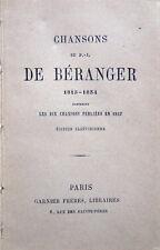 1860 c. DE BÉRANGER, CHANSONS, LETTERATURA FRANCESE POESIA LITTERATURE FRANÇAISE