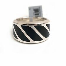 New DAVID YURMAN 16mm Graphic Cable Band Ring in Black Onyx Size 11