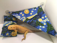 Bearded Dragon starry night bed, pillow, hammock Set lizard reptile