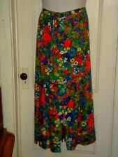 vintage HAWAIIAN skirt LONG maxi vivid colors floral barkcloth 1970's waist=30 M