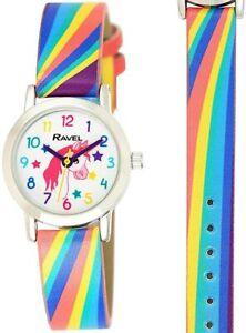 Ravel Girl's Unicorn Rainbow Strap Watch R1808,1