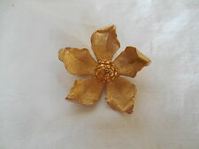B.S.K gold tone flower brooch