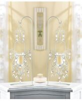 2 White Crystal beaded shabby hanging chandelier Candle Holder & stand wedding
