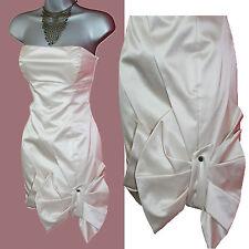 NWT Karen Millen Champagne Bow Asymmetric Panels Strapless Dress UK 8  36 £135