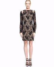 NEW Tadashi Shoji Long Sleeve Velvet Illusion Shoulder Dress-black,nude 0 $348