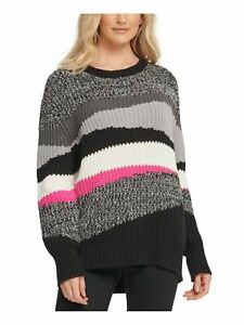 DKNY Womens Black Color Block Long Sleeve Crew Neck Sweater  Size S