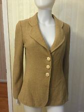 St. John Jacket Sweater Blazer Tan Mocha Size 6