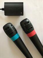 PS2 Original Singstar Mikrofone Blau und Rot + Adapter Auch Mikro Micro PS3