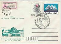 Poland 1989 Polar Expedition Registered Ice Station Stamps Cover ref 23146