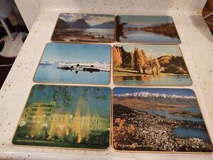 "Vintage New Zealand Landscapes Scienic Cork Board 9 1/2"" x 7"" Set of 6"
