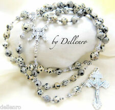 ✫DALMATIAN JASPER✫ GEMSTONE HANDCRAFTED ROSARY ( Boxed)