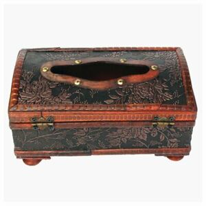 1X(Retro Vintage Copper Ring Pattern Wooden Paper Tissue Box Holder Decor Ne W2E