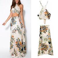 US Women Summer Floral Beach Party Cocktail Crop Top Skirt Two Pieces Dress Set