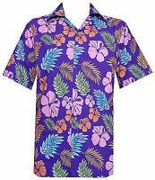 Hawaiian Shirt Mens Hibiscus Floral Leaf Print Beach Aloha Camp Party