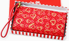 NWT COACH SIGNATURE C LOVE RED GOLD HEART ZIPPY WRIST WALLET 51225 HOLDS A PHONE