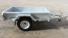 galvanised box trailer, 7x4, Brand New, Fully Welded 2.5mm checker plate floor