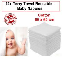 12x Terry Towel Cotton Cloth Nappies Large Reusable Washable 60x60cm Towelling