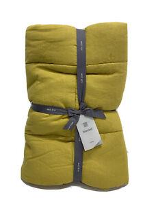West Elm Belgian Flax Linen Quilt King/ California King NEW Sand Yellow