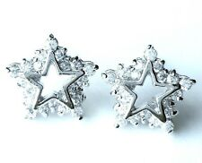 CZ STARS EARRINGS + FREE Matching Pendant .925 STERLING SILVER