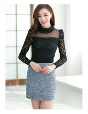 Women Lace Top Black Sexy Stand Pearl Collar Crochet Blouses Shirts Long Sleeve