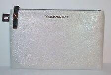 VICTORIA'S SECRET METALLIC WHITE CLUTCH MAKEUP COSMETIC BEAUTY BAG POUCH CASE