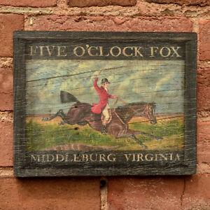 """Medium Reproduction """"Five O'Clock Fox"""" - Original Art - Pub Tavern Sign"""