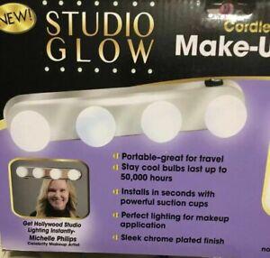 Studio Glow Vanity Make Up Light Cordless Portable Design Stay-Cool Bulbs NEW