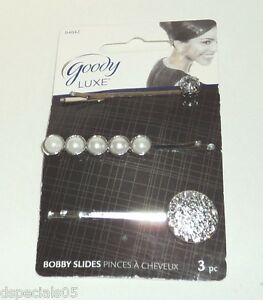 GOODY Luxe 3 Pc. Bobby Slides New and Carded SILVER
