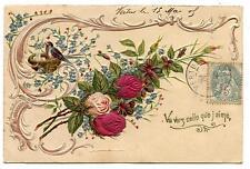 FLEURS.FLOWERS.CARTE GAUFRéE.EMBOSSED POST CARD.1905.STYLE .ART NOUVEAU