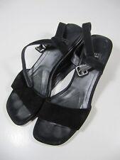 Stuart Weitzman Womens Shoes Size 7.5AA Black Wedge Strap Heels Suede
