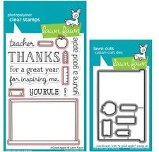Lawn Fawn Photopolymer Clear Stamps-13ct, + Dies A GOOD APPLE Teacher ~LF512,832