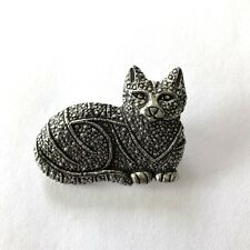 Seagull Canada Jp151 Signed Silver Tone Cat Brooch Pin jewelry pewter