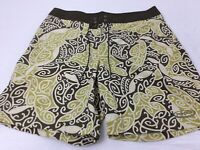 Patagnoia Mens Size 38 Green & Brown Tribal Pattern Swim Trunks Shorts Surf NWOT