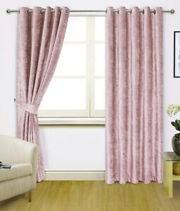 READYMADE CRUSHED VELVET LINED RINGTOP CURTAINS - BLUSH PINK, BABY GIRL NURSERY