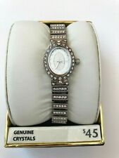 Elgin EG9058 Women's Oval Analog Clear Stone White Dial Stretch Band Watch