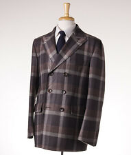 NWT $2395 BELVEST Brown Plaid Unstructured Wool Outer Coat 50/40 (M) Peacoat