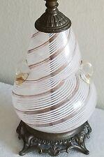 Vtg. Mid Century 1960's Italian Murano Art Glass Lamp W/Amber & White Swirls! EX