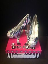 Too Fast Iridescent Ribcage Skeleton Bones High Heel Silver Spine Shoes