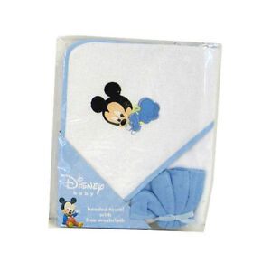 Hooded Towel & Washcloth Infant Baby Boy Blue Disney Mickey Mouse NEW