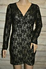 NWT SPEECHLESS 4 5 6 BLACK BEIGE FLORAL LACE V-NECK LOW CUT BACKLESS SEXY DRESS