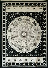 Astrology Print Wall Hanging Small Tapestry Poster Indian Cotton Fabric Hippie