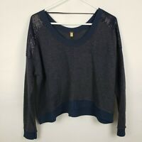 Free People WOmens Sweater Size S Blue Cropped Pullover Long SLeeve Sequins