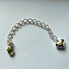 Sterling Silver puff heart extension chain with lobster clasp 6cm