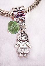 August Birthstone Girl Granddaughter Daughter Green Crystal Charm for Bracelets