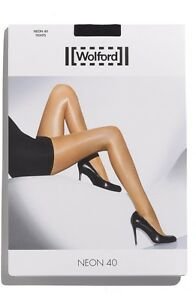$49 Wolford Neon 40 High Gloss Super Shine Tights GREY  Tar XS