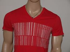 Armani Exchange Authentic Above The Bar Logo V Neck T-Shirt Red NWT