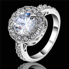 Halo Jewelry Women White Sapphire 18K White Gold Filled Band Wedding Ring Size 7