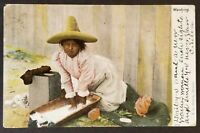1906 Mexico to Chattanooga Tennessee Girl Washing Real Picture Postcard Cover